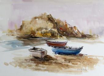 Barques a Blanes  - Aquarel·la - 35 x 50 cm - 2007