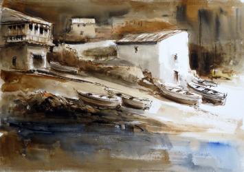 Barques al capvespre - Aquarel·la - 35 x 50 cm - 2007