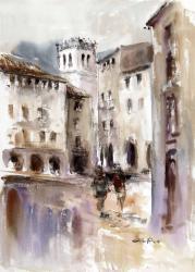 Besalú, plaça de la Llibertat - Aquarel·la - 51 x 60 cm - 2008