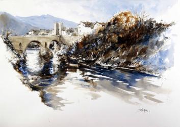 Besalú, riu Fluvià - Aquarel·la - 36 x 51 cm - 2011