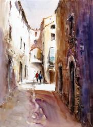 Besalú, carrer Comte Tallaferro - Aquarel·la - 48 x 36 cm - 2011