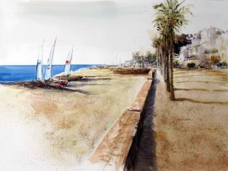 Canet de Mar, passeig de Mar - Aquarel·la - 56,5 x 76,5 cm - 2014