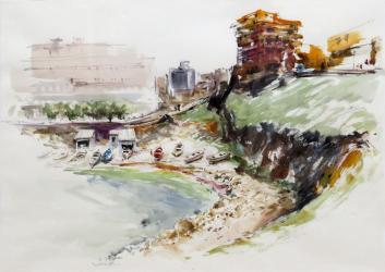 Cala de l'Escala - Aquarel·la - 70 x 51 cm -