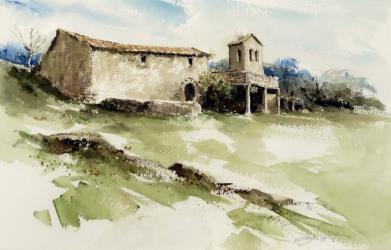 Casa forta de la Massó de Palera. Beuda - Aquarel·la - 31 x 41,5 cm - 2006