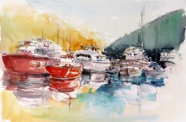 De Palma a Sòller. Barques al port - Aquarel·la - 38 x 57 cm - 2004