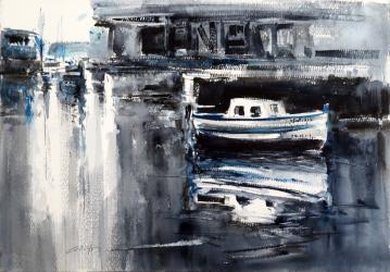 Barques al port - Aquarel·la - 35 x 50 cm -