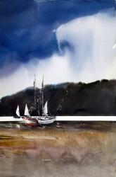 Tres veles - Aquarel·la - 56,5 x 38 cm -