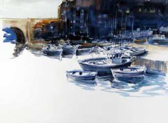 Barques al port - Aquarel·la - 56 x 76 cm -