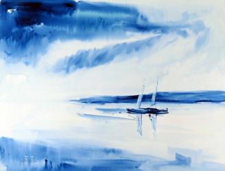 Dues barques blaves - Aquarel·la - 50 x 65 cm - 2001